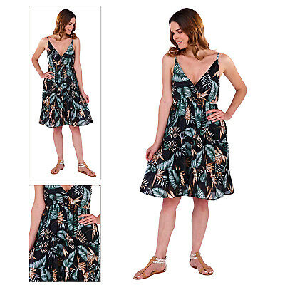 Clever Pistachio Womens Crossover Tropical Knee Length Cotton Midi Summer Evening Dress üBerlegene Materialien