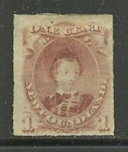 Newfoundland # 37, 1877 1c Edward - Prince of Wales, Rouletted - Unused Hinged