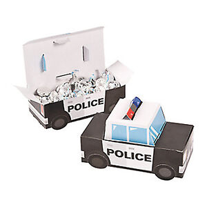 POLICE-PARTY-Treat-Boxes-Favour-Gift-Box-Highway-Patrol-Squad-Car-Shape-Pk-of-6