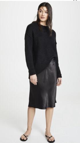 Vince Midi Silk Slip Skirt In Black Size XS