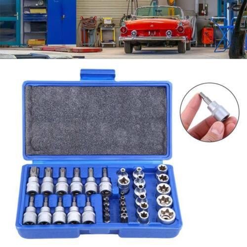 34-tlg Innentorx Nuss Steckschlüssel Satz Bits Werkzeug Außen Torx Nüsse Set