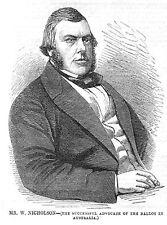 WILLIAM NICHOLSON Australia Colonial Politician - Antique Print 1857