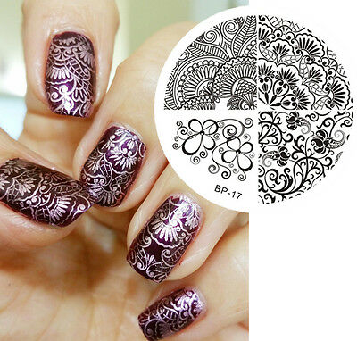 Elegant Charming Flower Line Nail Art Stamp Template Image Plate BORN PRETTY 17