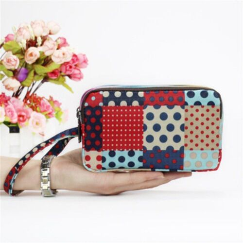 Women/'s Wallets Canvas 3 Layer Large Capacity Clutch Coin Purses With Zipper New