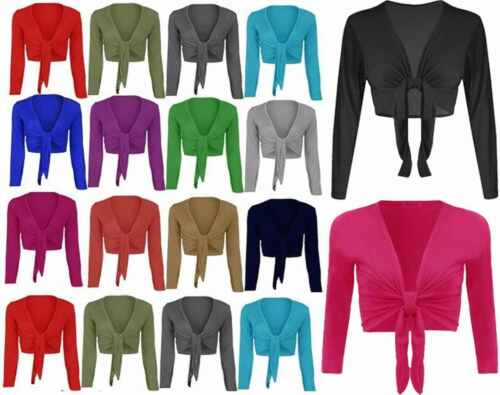 New Womens Ladies Long Sleeve Front Cropped Shrug Top Cardigan 8-22*Bolero Tie