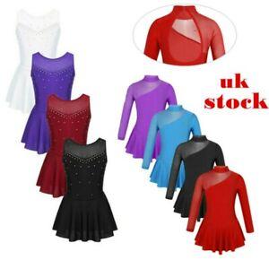UK-Girls-Skating-Dress-Ballet-Leotard-Kid-Tutu-Skirt-Dancewear-Gymnastic-Costume