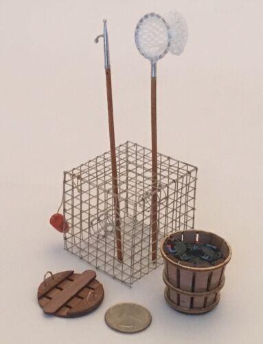 Miniature Waterman Kit Crab Net, Trap, Boat Hook, Bushel Basket /& Crabs #WK2