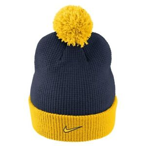 new style 1408a 42b3b Image is loading NIKE-Michigan-Wolverines-Cuffed-Knit-Hat-Beanie-Cap-