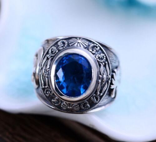 A01 Ring indianische Motive Kokopelli aus Sterling Silber 925 blauer Kristall