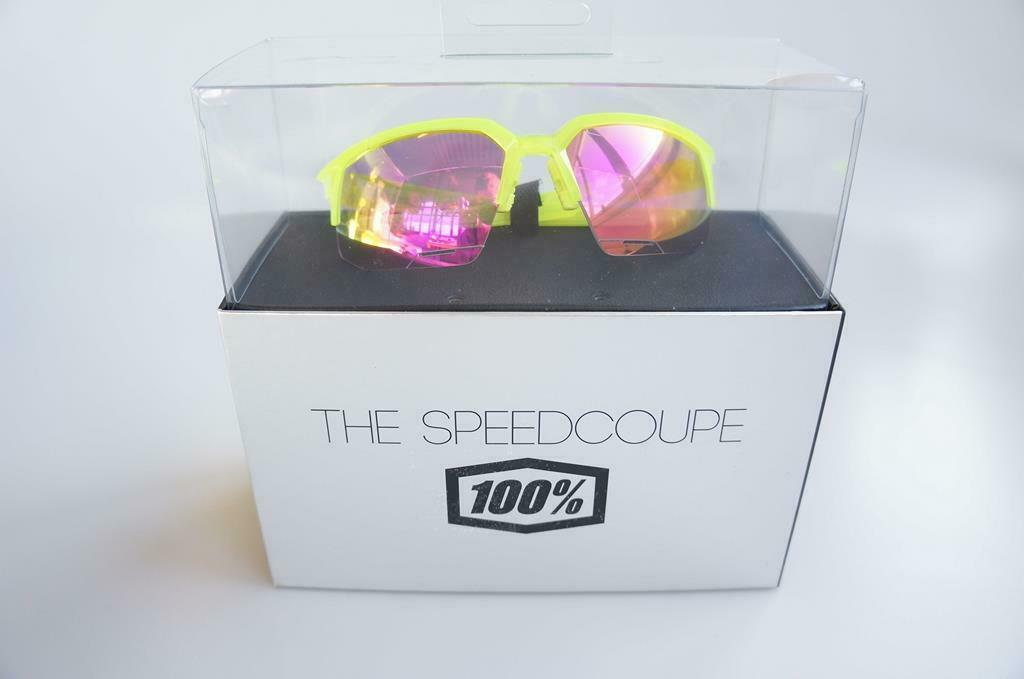 100% Speedcoupe Sportbrille Neonyellow Purple Mirror Linsen NEU  G64
