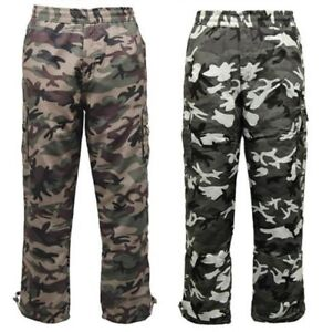 f96308d341369 Men's Army Camouflage Cargo Combat Lined Fleece Thermal Camo ...