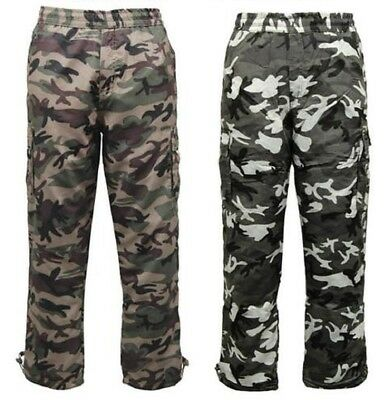 MENS THERMAL FLEECE LINED TROUSER CAMOUFLAGE COMBAT ELASTICATED WAIST BOTTOMS S M L XL XXL