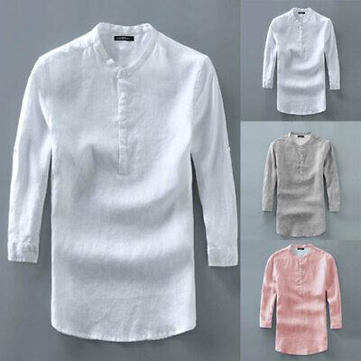 Men/'s T-Shirts Short Sleeve V Neck Button Cotton Blend Plain T Shirt M-5XL UK