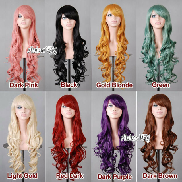 Fashion Style 80CM Long Curly Lady Girl Anime Cosplay 9 Color Hair Wig Halloween