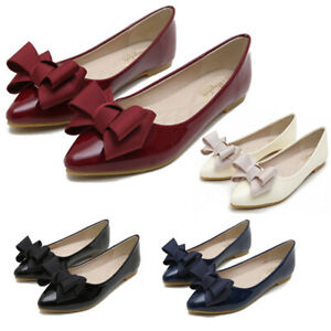 Womens-Flat-Pumps-Bow-Knot-Comfy-Slip-On-Ballerinas-Pointy-Toe-Casual-Shoes-Size