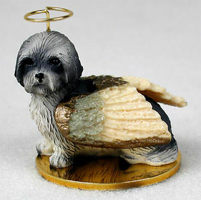 Lhasa Apso Dog Figurine Ornament Angel Statue Hand Painted Gray Sport Cut