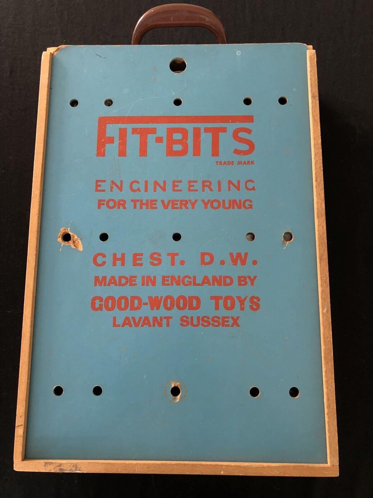 Vintage Wooden Cased  FIT-BITS  Construction Set