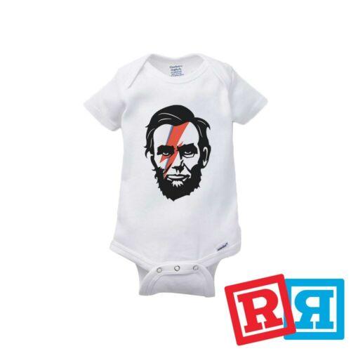 Abraham Lincoln David Bowie Baby Onesie Aladdin Sane Gerber Organic Cotton