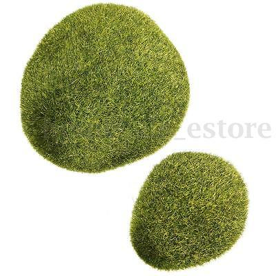 1/2pcs Synthetic Resin Green Artificial Grass Stones Mini Fairy Garden Deror