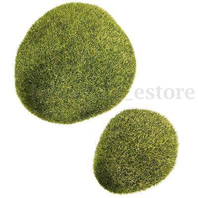 1/2pcs Synthetic Resin Green Artificial Grass Stones Mini Fairy Garden Deror