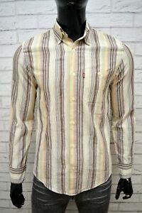 LEVI-039-S-Uomo-Camicia-a-Righe-Camicetta-Taglia-M-Maglia-Shirt-Man-Cotone-Slim-Hemd