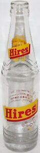 Vintage soda pop bottle HIRES root beer yellow red bubbles 10oz Philadelphia PA