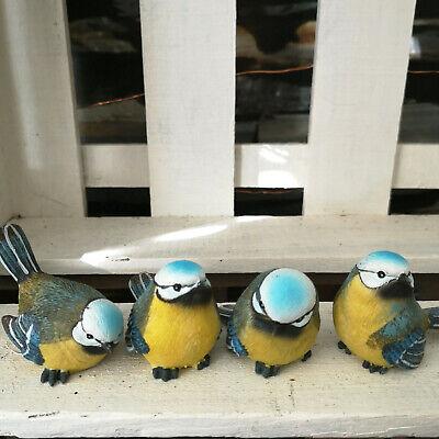 4 X Serrimana Blu Serrimana Sing Uccelli M Natura Fedelmente Personaggio Statua Uccelli Protezione Della Natura-