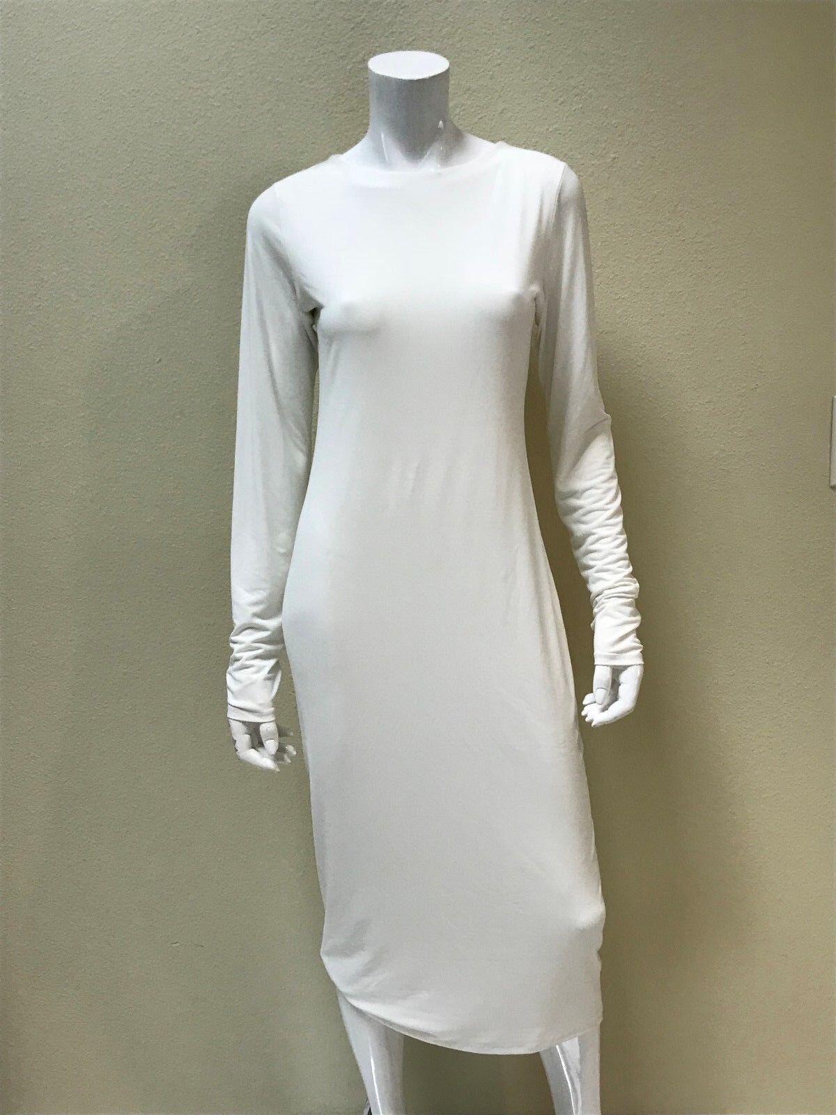 EVA VARRO  Women's Solid White Long Sleeved Sheath Midi Dress Size Medium NEW