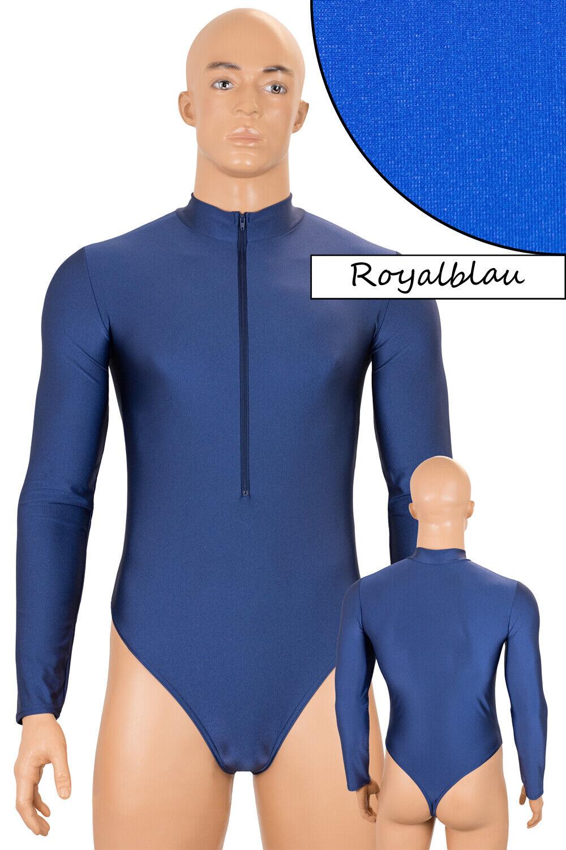 Herren Stringbody FRV Long Sleeve Royal Blau Shiny Stretch Shiny S to XXL