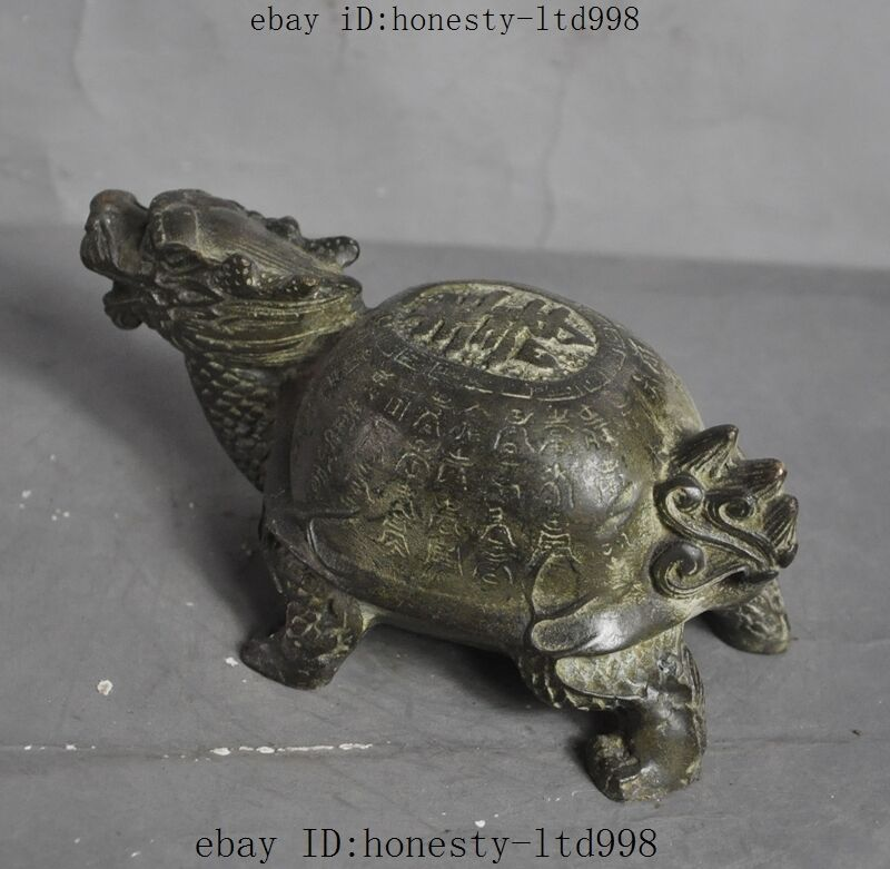 "Old Chinese Folk Fengshui Bronze""壽""Longevity Lucky Dragon Turtle Tortoise Statue"