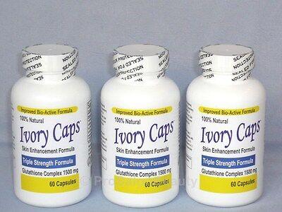 IVORY CAPS PILLS GLUTATHIONE SKIN WHITENING 1500 MG THISTLE - 3 BOTTLES