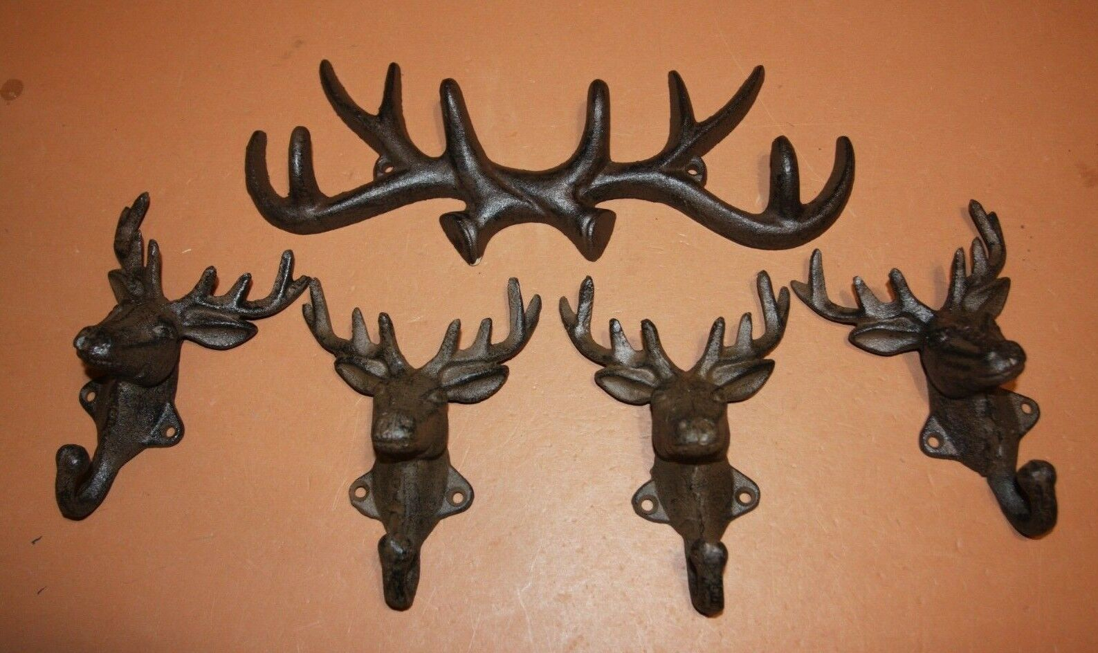 (5) Wall Mounted Antler Deer Head Wall Hooks, Rustic Cast iron, Set of 5 pieces