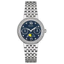 Bulova Women's 96R210 Diamond Accents Moon Phase Silver-Tone 31.5mm Watch