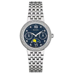 Bulova-Women-039-s-Diamond-Accents-Moon-Phase-Silver-Tone-31-5mm-Watch-96R210