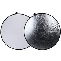 "43"" /110cm Light Mulit Collapsible Disc Photography Round Reflector Silver/White"