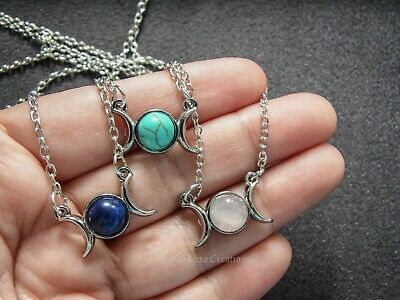 Triple Goodness Sun nd Moon Necklace Opal Rose Quartz Turquoise Lapis Lazuli Etc