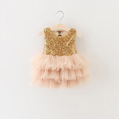 Toddler Baby Girl Dress Wedding Big Bows Sequined Tulle Tutu Princess Dress