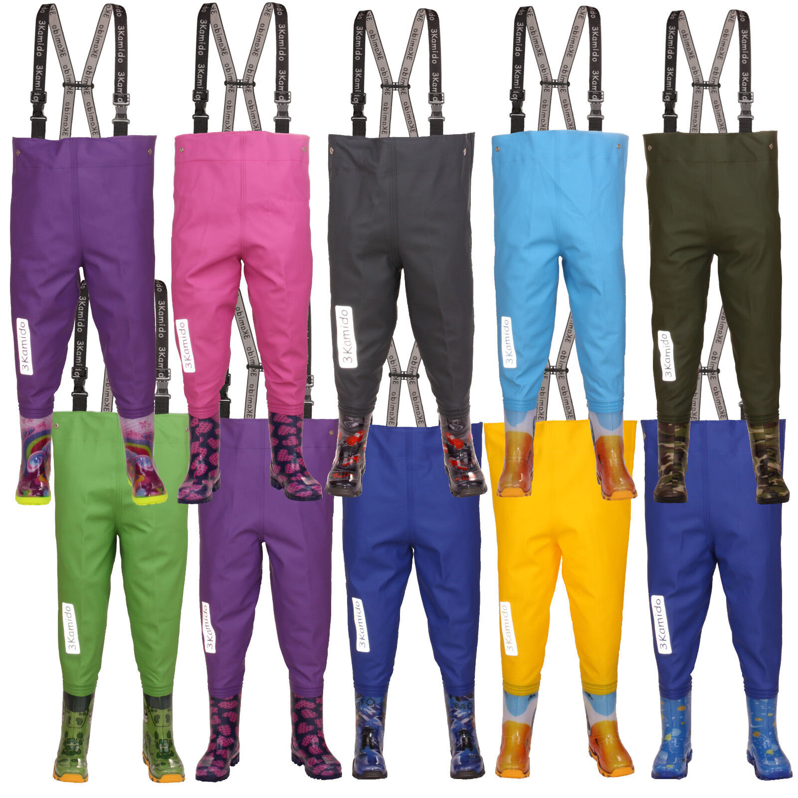Kids chest waders 3KAMIDO PRO ,10 models, Fishing boots  , durable suspenders  healthy