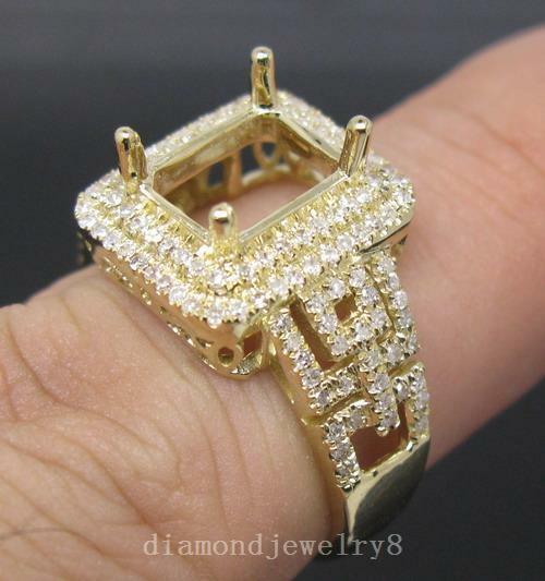 Emerald Cut 7×9mm Solid 14Kt Y gold Natural Diamond Semi Mount Engagement Ring