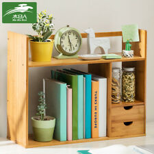 Adjustable Desk Top Book Shelf Rack Storage Organizer Office Bookcase Drawer US