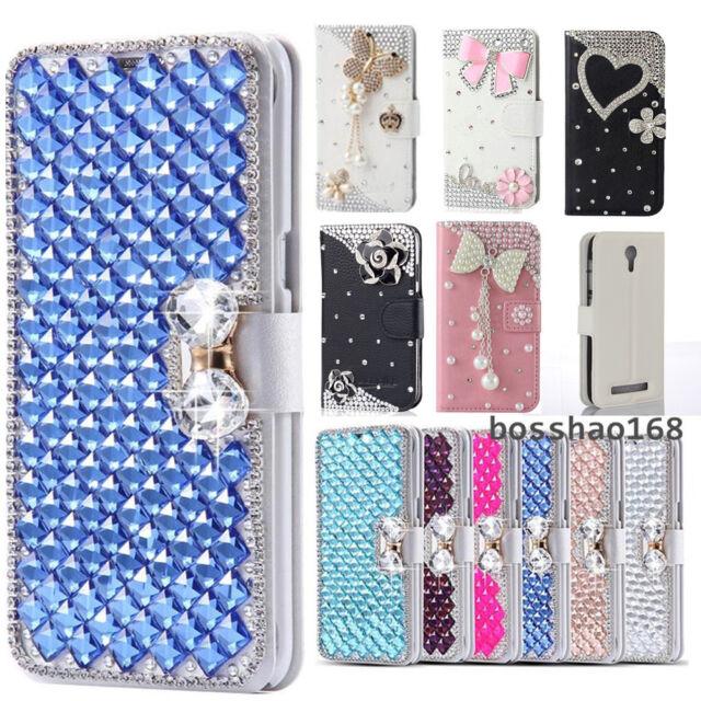Bling handmade crystal Diamonds slot leather flip wallet cover case For Blu #C