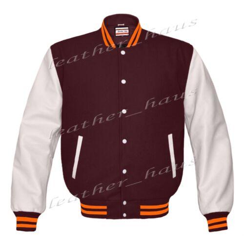 Genuine Leather Sleeve Letterman College Varsity Kid Wool Jackets#WSL-ORSTR-WB