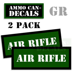 """AIR RIFLE Ammo Can GREEN Labels Ammunition Case sticker decals 2 pack 3""""x1.15"""""""