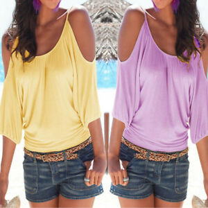 Women-Summer-Short-Sleeve-Cold-Shoulder-Loose-Casual-T-Shirt-Blouse-Tops-Blouse
