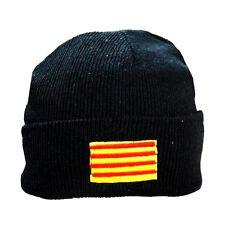 Gorro de invierno negro con parche de bandera catalán señera de Cataluña