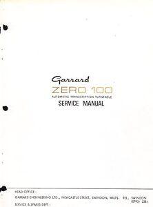 GARRARD SERVICE MANUAL FOR MODEL ZERO 100 AUTO TRANSCRIPTION TURNTABLE