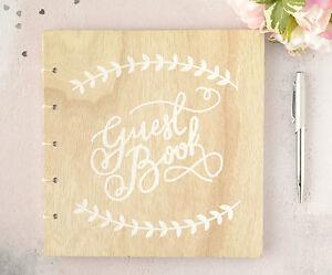 Personalisiert Hochzeit Gast Buch Rustikale Holz Vintage Bedruckt