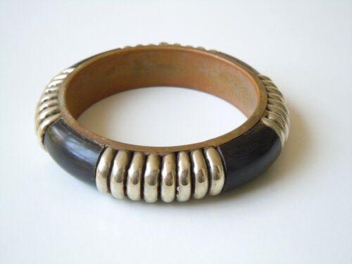 Alter Trachten Armreif Messing-Silberfarben Metall mit Horn 46,6g/Innen Ø 6,5 cm