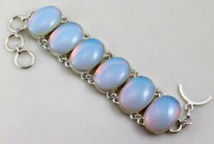 White-Opal-Stone-Silver-Overlay-Handmade-Jewelry-Bracelet-50-Gr-F-526-14