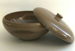 RUSSEL-WRIGHT-Iroquois-Nutmeg-Brown-Covered-Round-Casserole-Serving-Dish